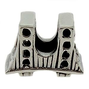 Landmark San Francisco Golden Gate Bridge Sterling Silver Bead fits most European style bead bracelets
