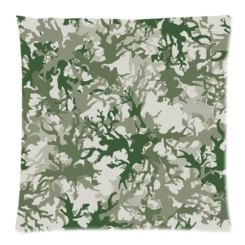 """Fashion Gray And Green Camo Print Custom Zippered Pillow Cushion Case Throw Pillow Covers 20""""X20""""(Two Sides) Fabric Cotton And Polyester front-918558"""