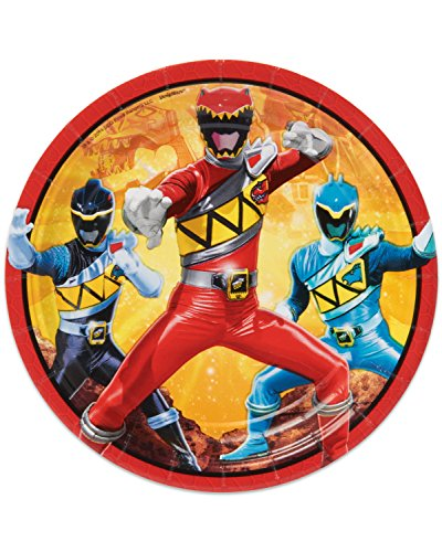 "American Greetings Power Rangers Dino Charge 7"" Round Plate (8 Count)"