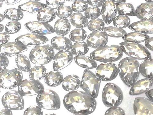 CraftbuddyUS 80 Clear Faceted Acrylic Sew On, Stick on Diamante Crystal Rhinestone Gems (Sew On Clear Rhinestones compare prices)
