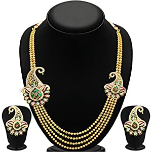 Sukkhi Alluring Four Strings Gold Plated Necklace Set