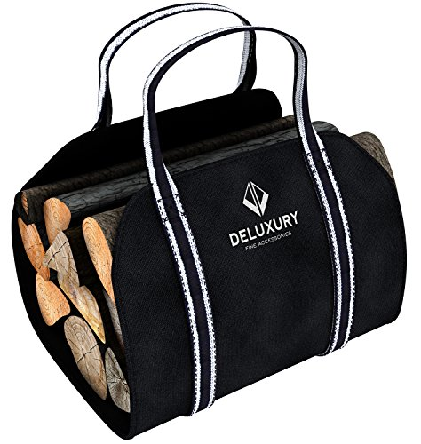 Firewood Carrier - Deluxury Fireplace Accessories: Durable Canvas Handler, Log Tote and Carrying Bag - Premium Style (Wood Stove Andirons compare prices)