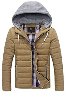 UBon Men Winter Thicken Cotton Outwear Coat With Hood Khaki X-Large