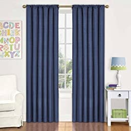 Eclipse Kids Kendall Blackout Window Curtain Panel, Size 42 x 63, Color Navy BLUE