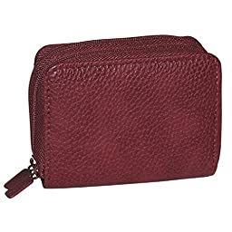 Buxton Womens RFID Accordion Double Zippered Wizard Credit Card ID Holder Travel Wallet (Burgundy)