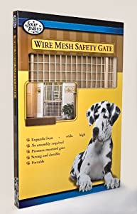 """Four Paws Tall Wood Frame Dog Gate with Coated Wire, 29.5-50"""" W by 32"""" H"""