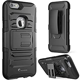 i-Blason Dual Layer Kickstand Combo Belt CLip Holster Cover for iPhone 6 Plus - Black