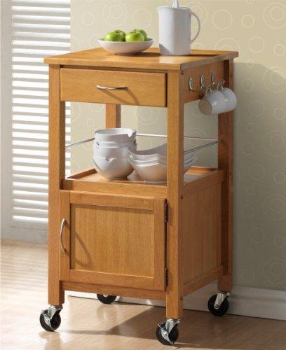 Chester Natural Hevea Hardwood Kitchen Trolley Island Oak Finish Small Island Cart 50cms
