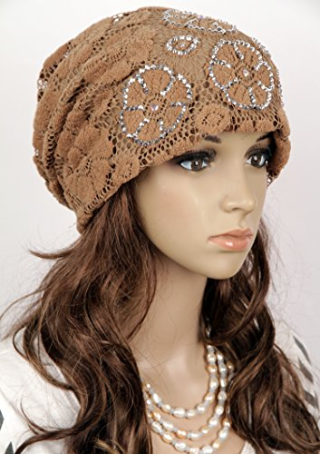 Fashional Women Girls' Hip Hop Hat Lace Hollow-out With Rhinestone Baggy Beanies Skull Wrap Hats Cap