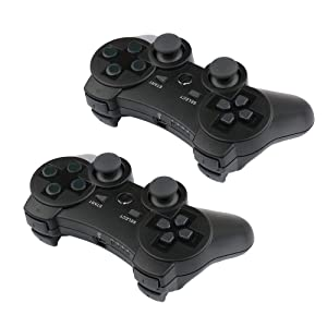 PS3 Controllers for Playstation 3 Dualshock Six-axis, Wireless Bluetooth Remote Gaming Gamepad Joystick Includes USB Cable (Red and Blue,Pack of 2) (Color: Red and Blue)