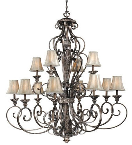 Vaxcel USA BGCHS012PZ Bellagio 12 Light Traditional Chandelier Lighting Fixture in Bronze, Silk