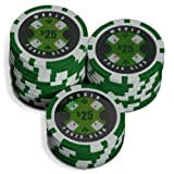 Sleeve of 25 World Poker Club $25 Green Poker Chips Clay 14gby Bullets Poker