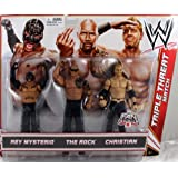 Missing Mattel WWE Wrestling Exclusive Action Figure 3-Pack Rey Mysterio, The Rock & Christian [Triple Threat Match]