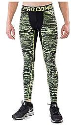Nike Men\'s Dri-Fit Pro Combat Hyperwarm Compression Tights-Volt/Black-Large