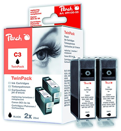 Peach PI100-55 Multi-Pack (Schwarz, Gelb, Magenta, Cyan) Kompatibel Tintenpatronen Pack of 2