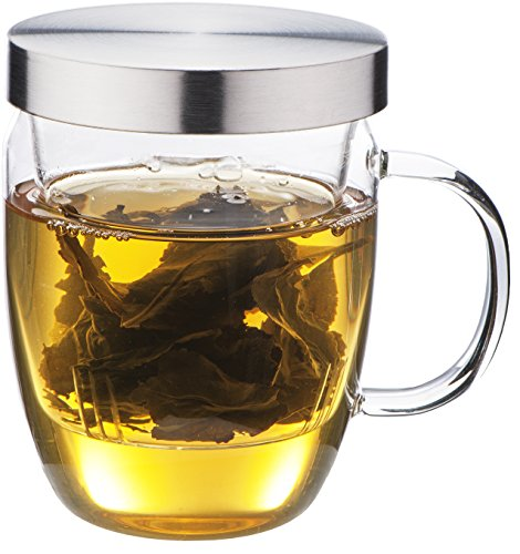 Find Bargain Loose Leaf Tea Infuser Cup From Infinite Tea, the Equilibrium Borosilicate Glass Mug Is...