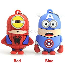 New Wholesale Hot sale - Despicable Me 2 , Dave 2GB 8GB 32GB USB 2.0 Flash Memory Stick Drive U Disk Festival Thumb/Car/Pen Gift Red 16GB