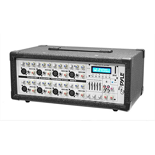 Pyle Pmx840Bt 8-Channel 800 Watt Bluetooth Dj Mixer With Balanced Mic And Line Inputs, Usb And Sd Card Readers