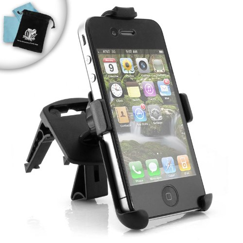 easyTALK iPhone 4 Air Vent Mount for All Cars - Hold your Apple iPhone 4 on your Air Vent for Easy Access and Hands-Free Calls, With Bonus Accessory Power Charger Bag and Screen Cleaning Cloth