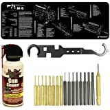 Ultimate Arms Gear Gunsmith & Armorer's Deluxe AR15 AR-15 M4 M16 .223 5.56 Rifle Bench Package Kit: Black Neoprene Schematics Gun Mat + Heavy Duty Carbon Steel Armorer's Multi Tool Combo Wrench For Castle Nut Stock Muzzle Brake Flash Hider Free Float Handguard Quad Rail Install + Cleaner Protector Jet Action Spray Range Field Can Cleans Firearms + 18 pc Steel/Brass Roll Pin Starters Punch Disassembly Takedown