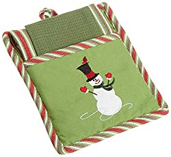 DII Merry Snowman Pot Holder Mitt & Towels 3 pc Gift Set