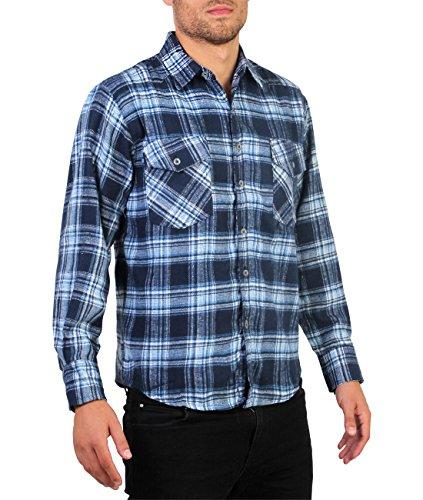 Camicia Quadri [Blu,XL]