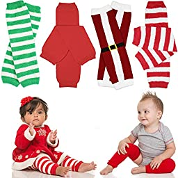 juDanzy bundle 4-pack of Holiday Leg Warmers (One-Size (10 pounds to 10 plus years), Christmas)