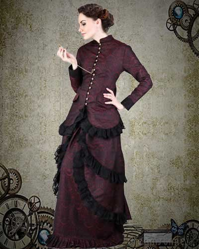 Steampunk Victorian Brocade Dinner Dress