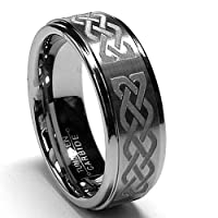 Deep Laser Etched Tungsten Carbide Ring W/ Celtic Design sizes 8 to 12