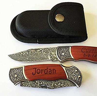 Set of 5 Personalized Engraved Pocket Hunting Knives Rosewood Decorative Handle Groomsmen Groomsman Gifts