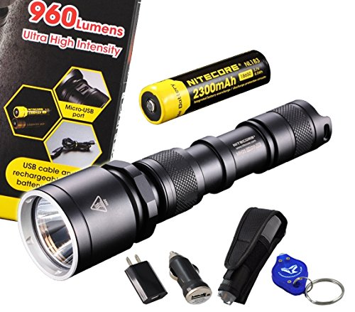 Nitecore Mh25 2014 Edition 960 Lumens 340 Yards Long Throw Rechargeable Cree Xm-L2 U2 Led Flashlight W/ Built-In Usb Charger, 2300Mah 18650 Rechargeable Battery, Usb Cable, Ac & Car Power Adapter, Holster And Lumentac Keychain Light