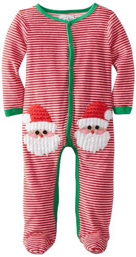 Mud Pie Baby-Boys Newborn Velour Santa One Piece, Multi, 0-6 Months front-557828
