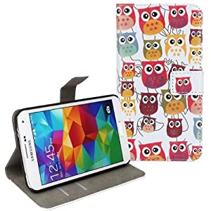 tinxi® Ledertasche für Samsung Galaxy S5 I9600 Tasche Leder Schutzhülle Hülle Flipcase Schale Etui Skin Cover Case Stand Funktion mit Eule Owl Muster (Samsung galaxy S5, viele Eulen)