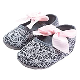 LINKEY Baby Gril\'s Soft Sole Anti Slip Princess Mary Jane With Ribbon Bowknot Jacquard Prewalker Flat Shoes Grey Size S