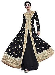 Justkartit Women's Black Colour Wedding Wear Anarkali Salwar Suit / Ankle Length Engagement wear salwar kameez / New Ceremony wear Anarkali Dress Material (DUAL BOTTOM - SIMPLE & LEHENGA STYLE BOTTOM)