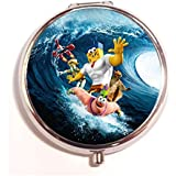 The Spongebob Movie Sponge Out Of Water Round Fashion Pill Box Medicine Tablet Holder Organizer Case For Pocket...