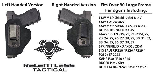 Details for The Ultimate Suede Leather IWB Holster - Lifetime Warranty - Made in USA - Fits S&W M&P Shield - GLOCK 17 19 22 23 32 33 / Springfield XD & XDS / Walther P99 & All Similar Sized Handguns from Relentless Tactical
