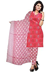 Mann Exclusive Women's Cotton Unstitched Dress Material (Rosy_001_Cherry)