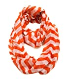 Orange & White Chevron Zig Zag Infinity Scarf (Orange & White)