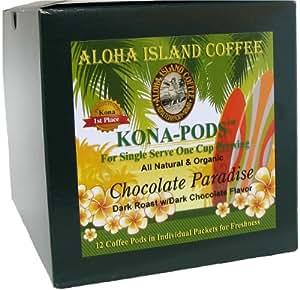 Aloha Island Coffee KONA-POD, Chocolate Paradise Dark Roast, Kona & Hawaiian Coffee Blend, 12-Count Coffee Pods