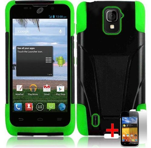 Zte Majesty Z796C Black Green Hybrid T Kickstand Cover Hard Gel Case + Free Screen Protector From [Accessory Arena]