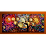 Santin Art-Hand-Painted Oil Paintings on Canvas Stretched and Framed Modern Abstract Wall Art Paintings for Wall Decorations Home Decorations (16x24inchx3pcs)