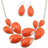 Ellenjewelry Orange Bubble Jewelry Sets Bubble Necklace Earrings Sets Statement Jewelry (B-0057)