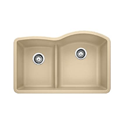 Blanco 441607 Diamond 1.75 Low Divide Under Mount Reverse Kitchen Sink, Large, Biscotti