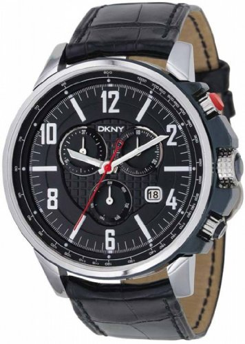 Dkny Gents Quartz Black Dial Black Leather Band - Men's Watch NY1325