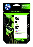 HP 56/57 C9321FN#140 Tri-Color Ink Cartridge in Retail Packaging, Combo Pack-Black