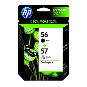 HP 56/57 C9321FN#140 Tri-Color Ink Cartridge, Combo Pack-Black
