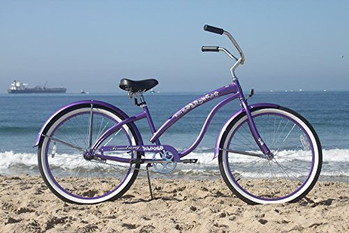 Firmstrong Bella Classic Single Speed Beach Cruiser Bicycle 26Inch Purple