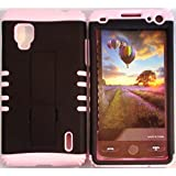 Cellphone Trendz (TM) Black Snap on Light Pink Silicone 2 in 1 Hybrid Rocker High Impact Bumper Case for LG Optimus G LS970 (SPRINT Only) + Free Wristband Accessory - Cellphone Trendz (TM)