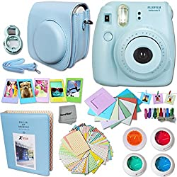 FujiFilm Instax Mini 8 Camera BLUE + Accessories KIT for Fujifilm Instax Mini 8 Camera includes: Custom Mini 8 Case with Strap + Assorted Frames + Photo Album + 4 Color Filters + Selfie Mirror + MORE